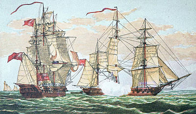 Sailboats Drawing - Hms Shannon Vs The American Chesapeake by American School