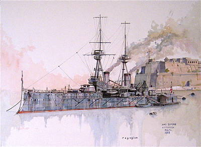 Painting - Hms Superb by Ray Agius