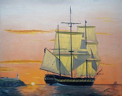 Painting - Hms Surprise At Battlestations by Mike Jenkins
