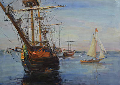 Wall Art - Painting - Hms Surprise, San Diego Harbor by Kathryn McMahon