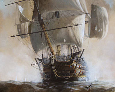 Temeraire Painting - Hms Temeraire by Oliver Hurst