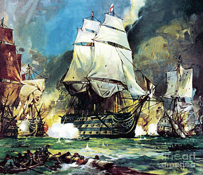 Ship. Galleon Painting - Hms Victory At The Battle Of Trafalgar by James Edwin McConnell