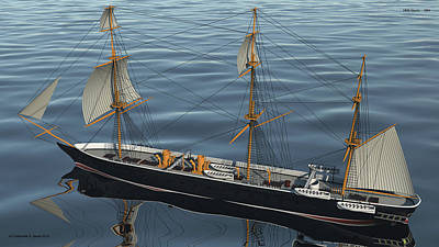 Hms Warrior 1860 - Stern To Bow Ocean Art Print by Christopher Snook