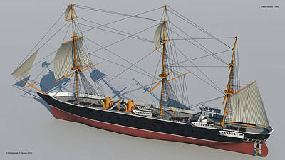 Hms Warrior 1860 - Stern To Bow Technical Art Print by Christopher Snook