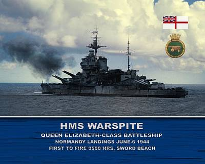 Art Print featuring the digital art Hms Warspite by John Wills
