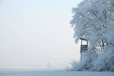 Photograph - Hoar Frost Hunting Perch Picturesque Winter Landscape by Martin Stankewitz