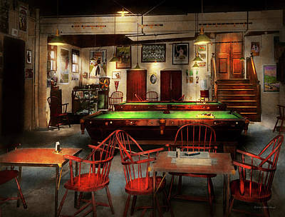 Print featuring the photograph Hobby - Pool - The Billiards Club 1915 by Mike Savad
