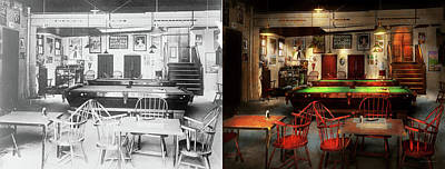 Print featuring the photograph Hobby - Pool - The Billiards Club 1915 - Side By Side by Mike Savad