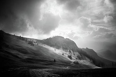 Photograph - Hochalm In Clouds Bw by Alexander Kunz