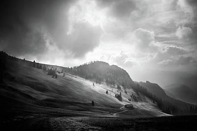 Photograph - Hochalm In Clouds Bw by Alexander Kunz