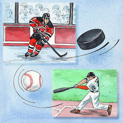 Sports Paintings - Hockey And Baseball by Irina Sztukowski
