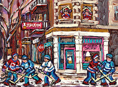 Bistro Painting - Hockey Art Montreal Memories St Aubin Dairy Original Canadian Paintings Winter Scenes Carole Spandau by Carole Spandau
