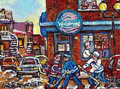 Kids Playing Hockey Painting - Hockey Art Montreal Memories Waldman's Fish Market Streets Of The Plateau Quebec Carole Spandau by Carole Spandau