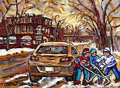 Depanneur Painting - Hockey Art Original Canadian Paintings Streets Of Montreal Winter Scene In The Pointe Carole Spandau by Carole Spandau