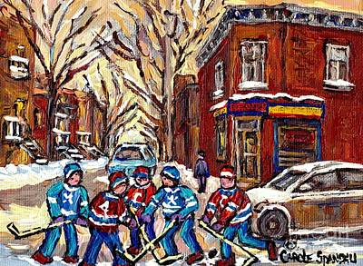 Art Of Hockey Painting - Hockey Art Streets  Montreal Pointe St Charles Canadian Painting Corner Store Winter  Carole Spandau by Carole Spandau