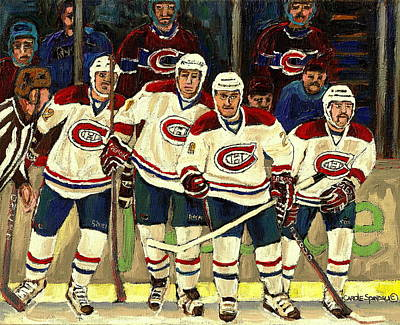 Montreal Hockey Painting - Hockey Art The Habs Fab Four by Carole Spandau
