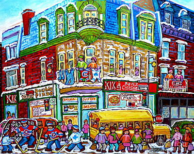 Painting - Hockey Art Winter Street Painting Double Pizza Restaurant Scenes Canadian Artist Carole Spandau      by Carole Spandau