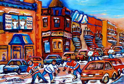 Our National Sport Painting - Hockey At Fairmount Bagel by Carole Spandau