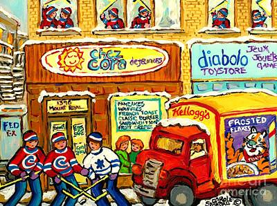 Hockey At Local Toy Shop And Breakfast Diner Winter Scene Delivery Truck Canadian Art Carole Spandau Original by Carole Spandau