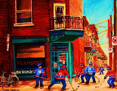 Hockey At Wilenskys Corner Art Print by Carole Spandau
