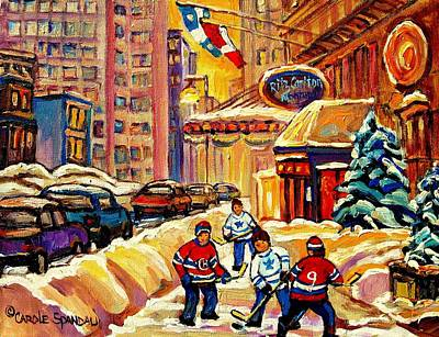Street Hockey Painting - Hockey Fever Hits Montreal Bigtime by Carole Spandau