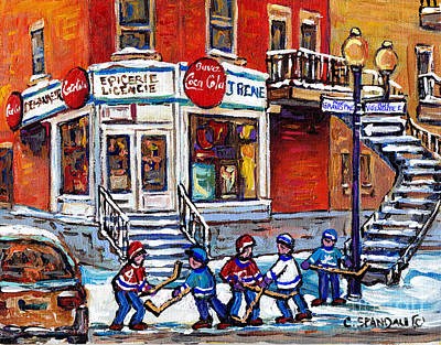 Hockey Art Boys Playing Hockey Painting - Hockey Game Art Coca Cola Corner Store Painting J Rene Rue Villeneuve At Grand Pre Montreal Scenes  by Carole Spandau