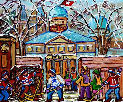 Painting - Hockey Game At Roddick Gates Mcgill University Rue Sherbrooke Winter Scene Carole Spandau Paintings  by Carole Spandau