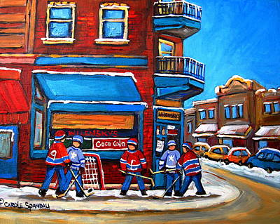 Afterschool Hockey Montreal Painting - Hockey Game At Wilensky's by Carole Spandau