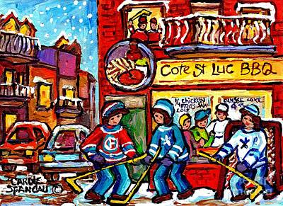 Painting - Hockey Game Cote St Luc Bbq Montreal Winter Street Scene Canadian Painting For Sale Carole Spandau by Carole Spandau