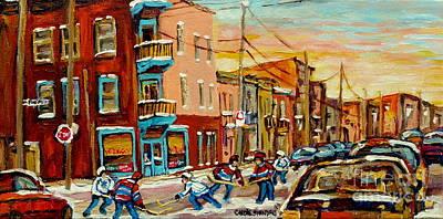 Hockey Painting - Hockey Game Fairmount And Clark Wilensky's Diner by Carole Spandau