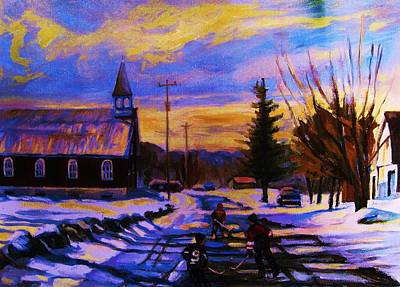Montreal Sites Painting - Hockey Game In The Village by Carole Spandau