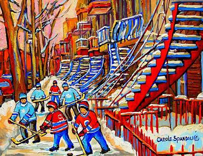 Classical Montreal Scenes Painting - Hockey Game Near The Red Staircase by Carole Spandau
