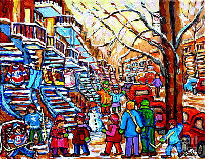 Painting - Hockey Game Off Rue Wellington Colorful Kids Painting Verdun Montreal Blue Winding Staircase Scene by Carole Spandau