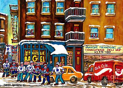 Hockey Painting - Hockey Game St Viateur  Street Laneway Coca Cola Delivery Montreal Memories Bagel Shop Kosher Deli   by Carole Spandau