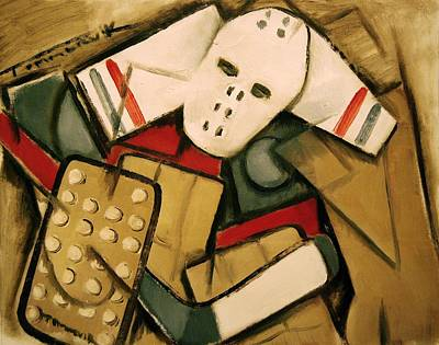 Hockey Player Painting - Synthetic Cubism Hockey Goalie Art Print by Tommervik