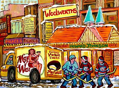Catherine Howard Painting - Hockey Game At Howard Johnson's Downtown Montreal Winter City Scene Montreal Memories Canadian Art  by Carole Spandau