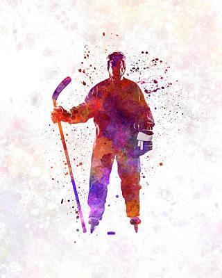 Hockey Man Player 01 In Watercolor Art Print