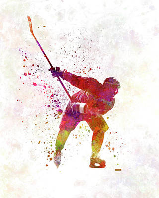 Roller Skating Painting - Hockey Man Player 02 In Watercolor by Pablo Romero