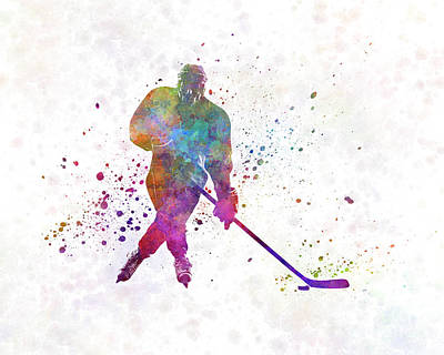 Hockey Player Painting - Hockey Man Player 03 In Watercolor by Pablo Romero