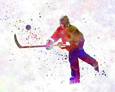Hockey Man Player 04 In Watercolor Art Print