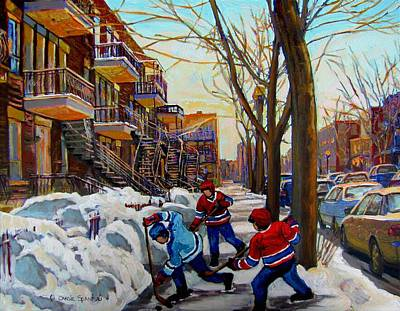 Montreal Winter Scenes Painting - Hockey On De Bullion  by Carole Spandau