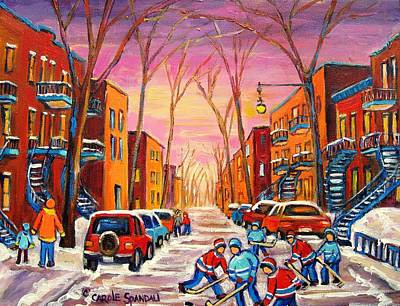 Montreal Winter Scenes Painting - Hockey On Hotel De Ville Street by Carole Spandau