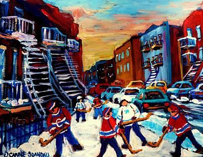 Hockey Paintings Of Montreal St Urbain Street City Scenes Art Print by Carole Spandau