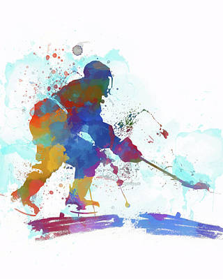 Sports Paintings - Hockey Player Paint Splatter by Dan Sproul
