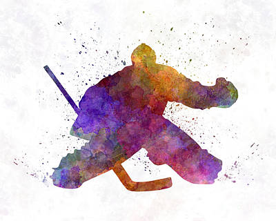 Hockey Porter In Watercolor Art Print by Pablo Romero