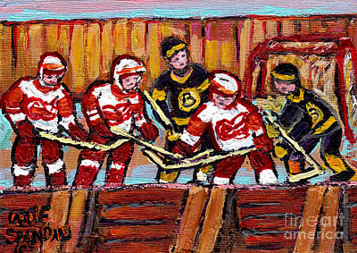 Hockey Rink Painting Boston Bruins Vs Detroit Red Wings Original Six Teams Hockey Art Carole Spandau Original by Carole Spandau
