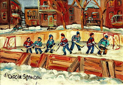 Kids Playing Hockey Painting - Hockey Rinks In Montreal by Carole Spandau