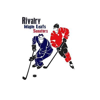 Hockey Rivalry Maple Leafs Senators Shirt Art Print by Joe Hamilton