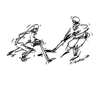 Sports Sketching Drawing - Hockey by Sam Chinkes