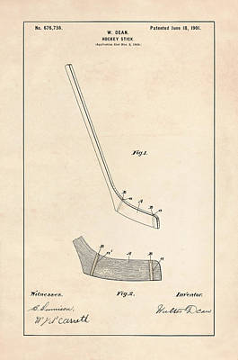 Hockey Stick Photograph - Hockey Stick Patent - Patent Drawing For The 1901 W. Dean Hockey Stick by Jose Elias - Sofia Pereira